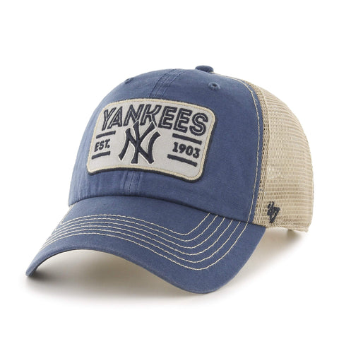 fe34e41a89e New York Yankees 47 Brand Blue w  Tan Mesh   Patch Logo Snapback Slouch Hat