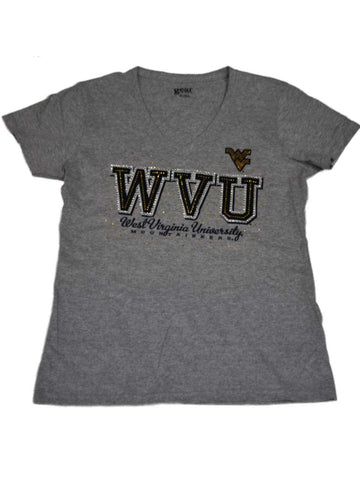 Shop West Virginia Mountaineers Gear for Sports Women Gray V-Neck Bling T-Shirt (M)