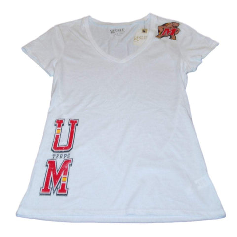 Shop Maryland Terrapins Gear for Sports Women White V-Neck Thin Fitted T-Shirt (M)
