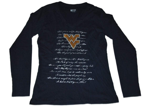 West Virginia Mountaineers Gear for Sports Women Navy V-Neck LS T-Shirt (M)