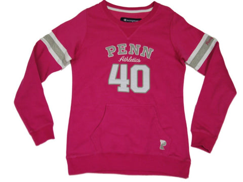 Shop Pennsylvania Quakers Champion Women Pink Jersey Style Fitted Sweatshirt (M) - Sporting Up