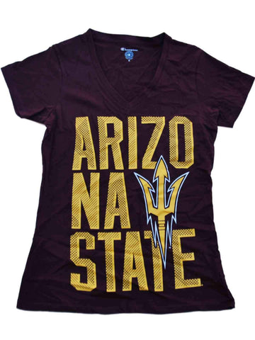 Arizona State Sun Devils Champion Women Maroon Gold Logo V-Neck T-Shirt (M)
