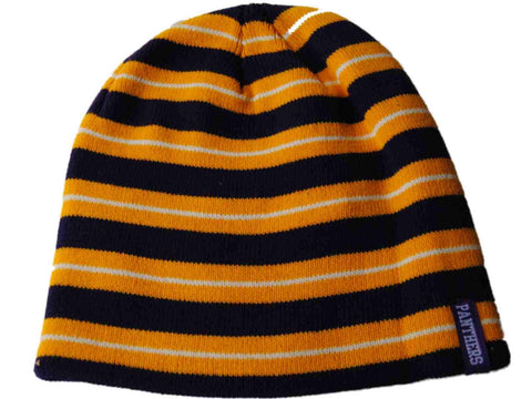 Northern Iowa Panthers The Game Purple Yellow and White Striped Beanie Hat Cap