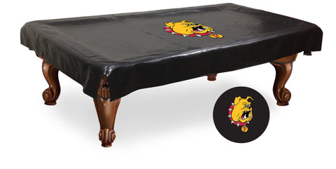 Ferris State Bulldogs HBS Black Vinyl Billiard Pool Table Cover