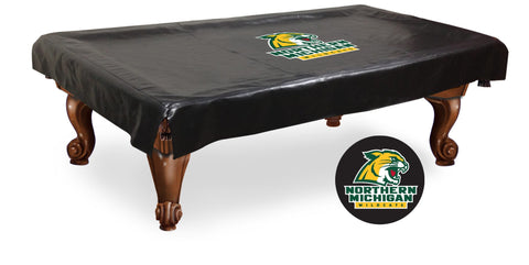 Northern Michigan Wildcats Black Vinyl Billiard Pool Table Cover