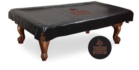 Texas State Bobcats HBS Black Vinyl Billiard Pool Table Cover