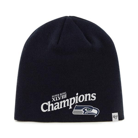 Shop Seattle Seahawks 47 Brand Super Bowl XLVIII Champions Navy Winter Cap Hat Beanie - Sporting Up