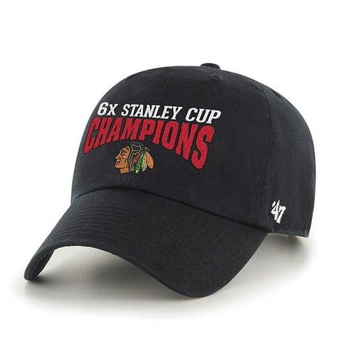 Chicago Blackhawks 47 Brand Stanley Cup Six Times Champions Black Adj Hat Cap