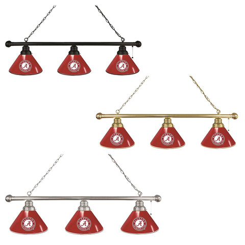 "Alabama Crimson Tide HBS ""A"" Logo Red 3 Bulb Hanging Pool Billiard Table Light"