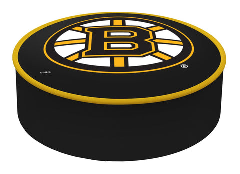 Boston Bruins HBS Black Vinyl Elastic Slip Over Bar Stool Seat Cushion Cover