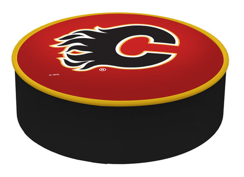 Calgary Flames HBS Red Vinyl Elastic Slip Over Bar Stool Seat Cushion Cover