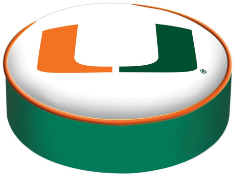Shop Miami Hurricanes HBS White Vinyl Elastic Slip Over Bar Stool Seat Cushion Cover - Sporting Up