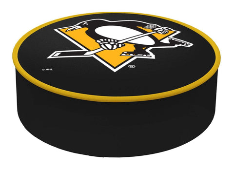 Pittsburgh Penguins HBS Black Vinyl Slip Over Bar Stool Seat Cushion Cover - Sporting Up