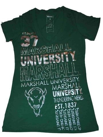 Shop Marshall Thundering Herd Campus Couture Womens V-Neck Green T-Shirt (S)
