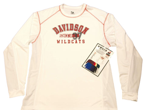 Davidson Wildcats Badger Sport White Performance Long Sleeve T-Shirt (L)