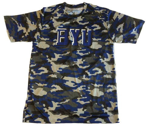 BYU Cougars Badger Sport Blue Gray Black Camo Performance T-Shirt (L)