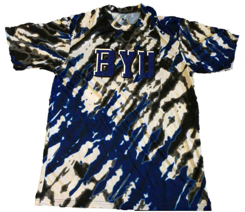BYU Cougars Badger Sport Blue Gray Black Patterned Performance T-Shirt (L)