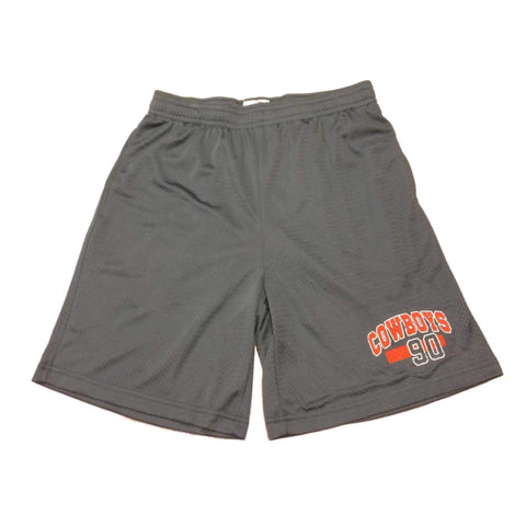 OSU Cowboys Charcoal Gray Mesh Drawstring Athletic Shorts with Pockets (L)