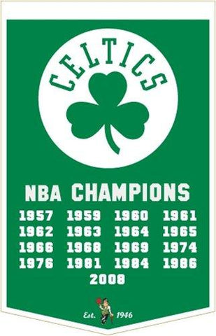 "Boston Celtics Winning Streak Genuine Wool Dynasty Banner (24""x36"")"