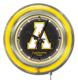 "Appalachian State Mountaineers HBS Neon Yellow Battery Powered Wall Clock (15"")"