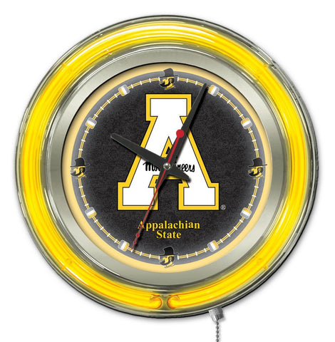 "Shop Appalachian State Mountaineers HBS Neon Yellow Battery Powered Wall Clock (15"")"