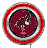 "Arizona Coyotes HBS Neon Red Hockey Battery Powered Wall Clock (15"") - Sporting Up"
