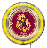 "Arizona State Sun Devils HBS Neon Yellow Red Battery Powered Wall Clock (15"")"