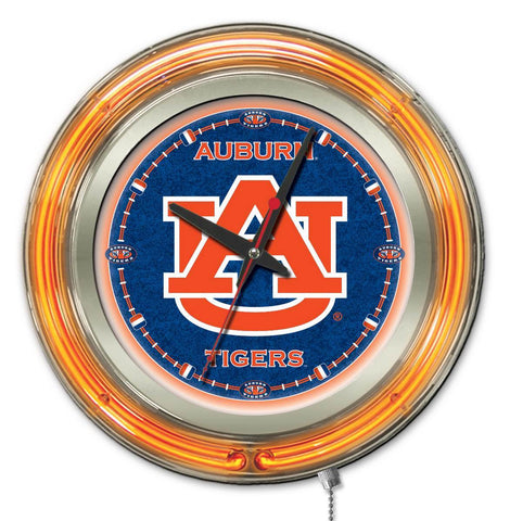 "Shop Auburn Tigers HBS Neon Orange Navy College Battery Powered Wall Clock (15"")"