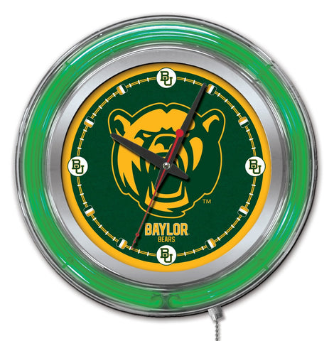 "Baylor Bears HBS Neon Green Gold College Battery Powered Wall Clock (15"")"