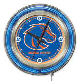 "Boise State Broncos HBS Neon Blue College Battery Powered Wall Clock (15"")"