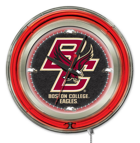 "Shop Boston College Eagles HBS Neon Red College Battery Powered Wall Clock (15"")"