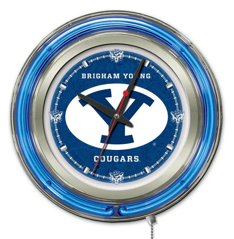 "BYU Cougars HBS Neon Blue College Battery Powered Wall Clock (15"")"