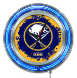 "Buffalo Sabres HBS Neon Blue Hockey Battery Powered Wall Clock (15"")"