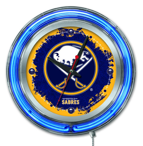 "Shop Buffalo Sabres HBS Neon Blue Hockey Battery Powered Wall Clock (15"")"