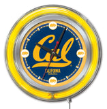"California Golden Bears HBS Neon Yellow College Battery Powered Wall Clock (15"") - Sporting Up"