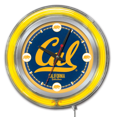 "Shop California Golden Bears HBS Neon Yellow College Battery Powered Wall Clock (15"") - Sporting Up"