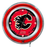 "Calgary Flames HBS Neon Red Hockey Battery Powered Wall Clock (15"")"