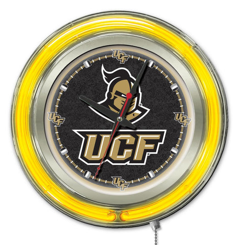 "UCF Knights HBS Neon Yellow Black College Battery Powered Wall Clock (15"")"