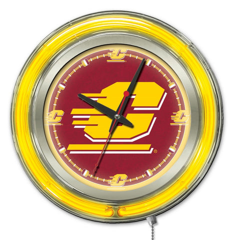 "Central Michigan Chippewas HBS Neon Yellow Battery Powered Wall Clock (15"")"