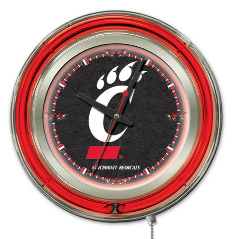 "Cincinnati Bearcats HBS Neon Red Black College Battery Powered Wall Clock (15"")"