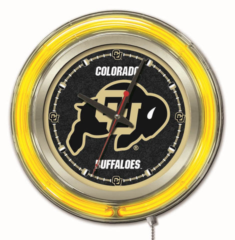 "Colorado Buffaloes HBS Neon Yellow College Battery Powered Wall Clock (15"")"