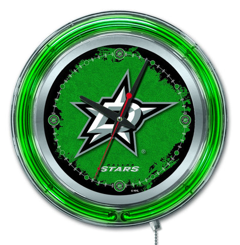 "Dallas Stars HBS Neon Green Hockey Battery Powered Wall Clock (15"")"