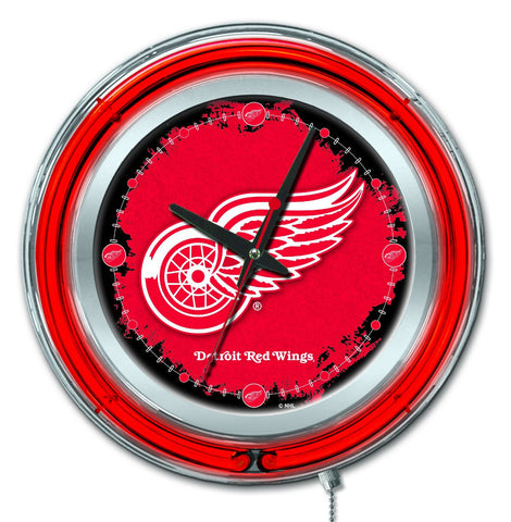 "Detroit Red Wings HBS Neon Red Hockey Battery Powered Wall Clock (15"")"