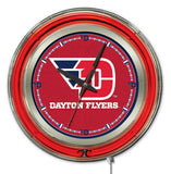 "Dayton Flyers HBS Neon Red College Battery Powered Wall Clock (15"") - Sporting Up"
