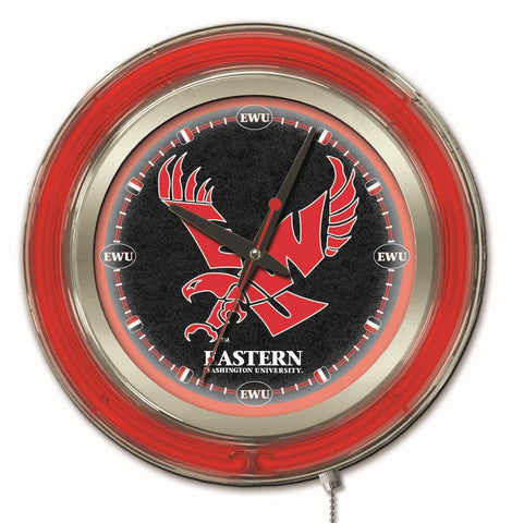 "Eastern Washington Eagles HBS Neon Red College Battery Powered Wall Clock (15"")"