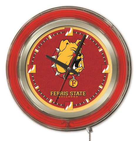 "Ferris State Bulldogs HBS Neon Red Gold College Battery Powered Wall Clock (15"")"