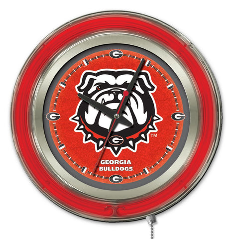 "Georgia Bulldogs HBS Neon Red Bulldog Logo Battery Powered Wall Clock (15"")"