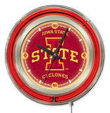 "Iowa State Cyclones HBS Neon Red College Battery Powered Wall Clock (15"") - Sporting Up"