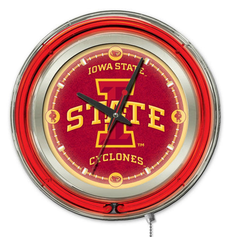"Shop Iowa State Cyclones HBS Neon Red College Battery Powered Wall Clock (15"") - Sporting Up"