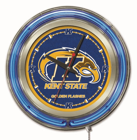 "Kent State Golden Flashes HBS Neon Blue College Battery Powered Wall Clock (15"")"